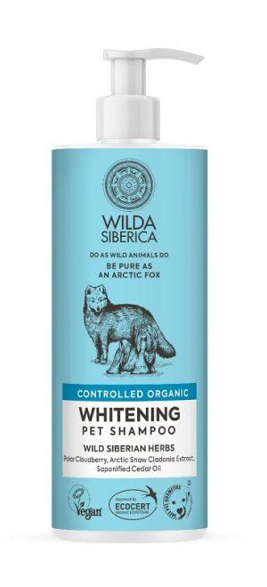 Champú blanqueador de 400ml para perros y gatos para ayudar a mantener el pelaje blanco como la nieve. Los ácidos orgánicos y la vitamina C que contiene la Mora de los Pantanos Polar reducen la producción de melanina, de modo que el pelaje se vuelve blanco como la nieve, fresco y brillante.