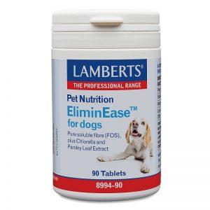 Lamberts ElimineEase™ Se enfoca efectivamente en la salud intestinal y el rendimiento óptimos para perros. 1000 mg de los fructo-oligosacáridos de fibra soluble pura (FOS). Chlorella y perejil mezclados para calmar y optimizar el proceso digestivo. Tabletas con sabor a carne.