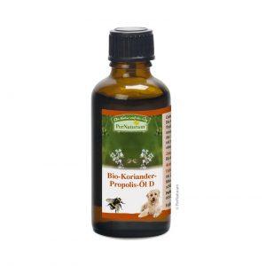 Bio propóleo perros es Una mezcla de aceite de cilantro para estabilizar la flora intestinal, con aceite de colza destacable sucontenido en ácido linolénico (omega 3); es el aceite vegetal con más omega 3 que existe.es una antigua tradición india.