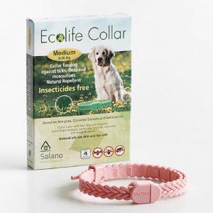 Collar de color blanco para perros de 8 a 20 kilos repele de pulgas, garrapatas y mosquitos A base de aceites naturales de margosa, citriodiol y geraniol. Efectivo para un período de 4 meses. Neutraliza los malos olores y le da a tu mascota un olor agradable. Apto para cachorros.