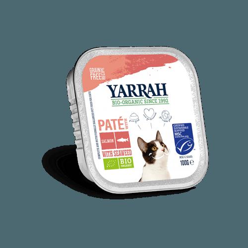 Tarrina BIO Yarrah de salmón con espirulina para gatos