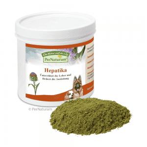 Hepatika para perro, es un suplemento nutricional que: Apoya a la función del hígado Promueve el drenaje con un 30% de silimarina como principio activo del cardo mariano Ingredientes: