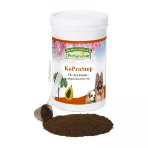 Koprostop, es un suplemento nutricional para perros que comen heces (coprofagia) Compensa los déficits nutricionales que hacen que los perros coman excrementos Compensa los trastornos de colonización intestinal causadas por la toma de antibióticos y demás medicamentos Compensa la carencia de enzimas y vitamina B y K Composición Ciénaga seca, espirulina, algas micronizadas, corteza de lapacho, concentrados de papaya y hemoglobina. Componentes y contenidos analíticos Proteína bruta 35%, contenido de grasa 2,9%, fibra bruta 17,3%, ceniza bruta 12,5%. Minerales Ca 0,9%, P 0,29%, Na 1,73%. Fisiología nutricional. Aditivos por kg Vitamina B1 (clorhidrato de tiamina) 0.1 g, vitamina B6 (clorhidrato de piridoxina) 0.1 g, vitamina B12 (cianocobalamina) 0.01 g.