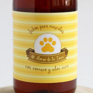 Jabón líquido artesanal natural para perros con aloe vera y romero