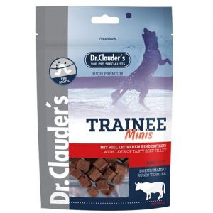 Snacks en taquitos muy pequeños para perros pequeños de ternera de 50 gramos. Composición:Carne de ternera 100%, y para mejorar la flora intestinal fructo oligosacaridos (FOS) 0,5%. Constituyentes analíticos:Proteína bruta: 29%, Grasa bruta: 7%, Fibra bruta: 0,4%, Cenizas brutas: 3,8%, Humedad 23%. Aditivos nutricionales:Fructo oligosacaridos (FOS): 0,5%.