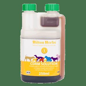 CDRM SOLUTION está formulado para mantener, respaldar y soportar el área pélvica, nerviosa, musculo esquelética y circulatoria de los perros.